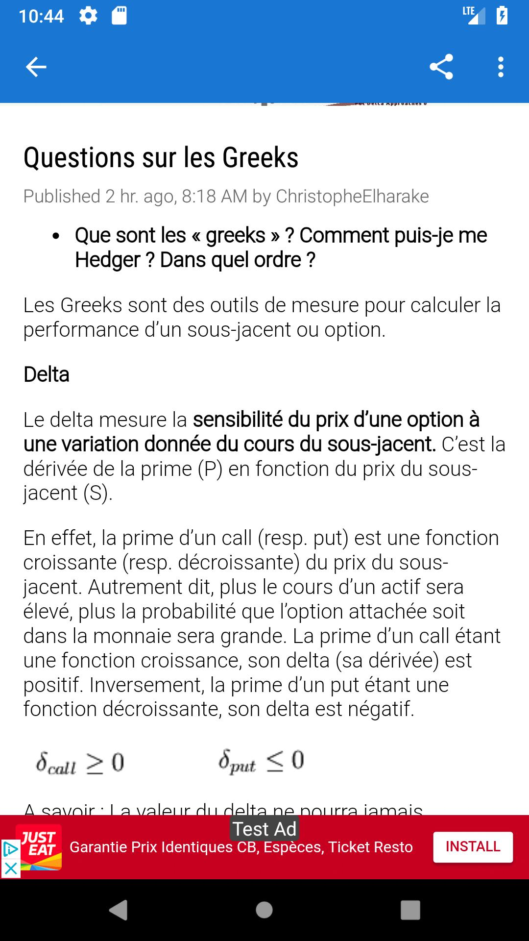 prime doption calculée